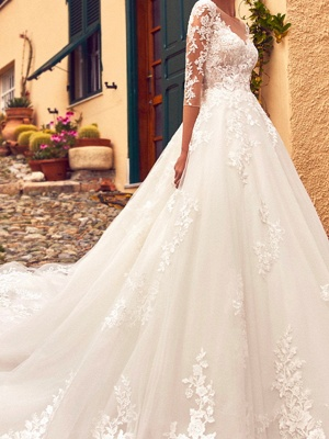 A-Line Jewel Neck Sweep \ Brush Train Lace Tulle 3\4 Length Sleeve Formal Sexy Illusion Sleeve Wedding Dresses_2