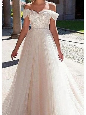 A-Line Wedding Dresses Off Shoulder Sweep \ Brush Train Lace Tulle Short Sleeve Formal_3