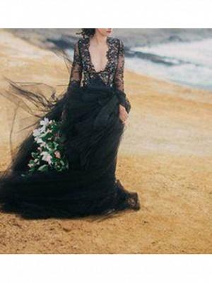 Ball Gown Wedding Dresses V Neck Sweep \ Brush Train Polyester Long Sleeve Beach Plus Size Black Modern_2