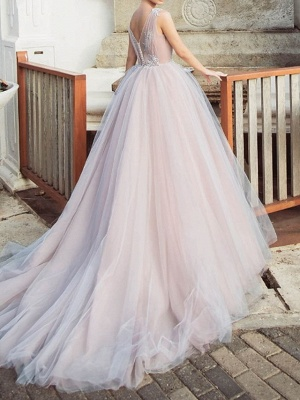 A-Line Wedding Dresses Jewel Neck Sweep \ Brush Train Tulle Polyester Sleeveless Country Plus Size_2