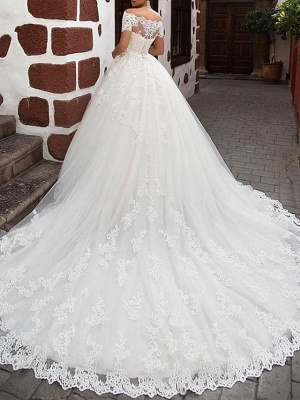 A-Line Wedding Dresses Off Shoulder Sweep \ Brush Train Lace Short Sleeve Glamorous Vintage Illusion Detail Backless_2