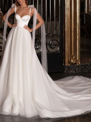 A-Line Wedding Dresses V Neck Spaghetti Strap Sweep \ Brush Train Satin Tulle Sleeveless Simple_1