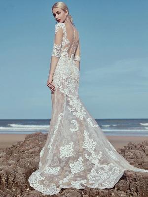 Mermaid \ Trumpet Wedding Dresses Scoop Neck Sweep \ Brush Train Lace Tulle Half Sleeve Beautiful Back_4