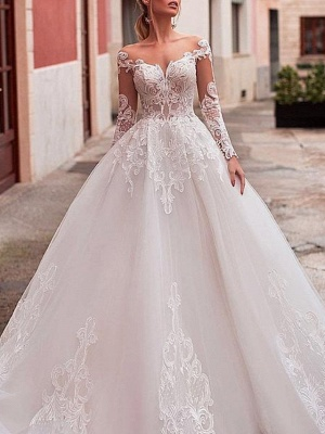 A-Line Wedding Dresses Jewel Neck Sweep \ Brush Train Lace Tulle Long Sleeve Formal Sexy See-Through Backless_3