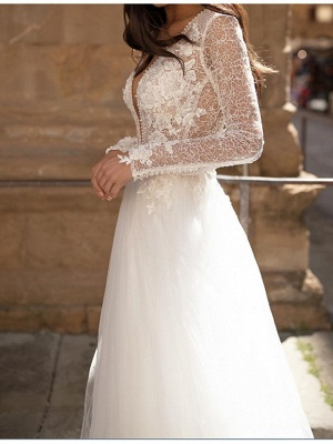 A-Line Wedding Dresses Plunging Neck Court Train Lace Tulle Long Sleeve Country Plus Size_2