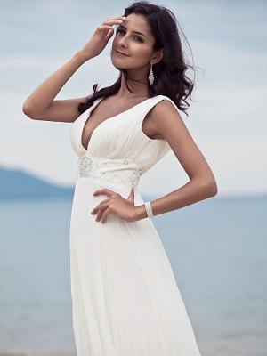 Sheath \ Column Wedding Dresses Straps V Neck Sweep \ Brush Train Floor Length Chiffon Sleeveless_7