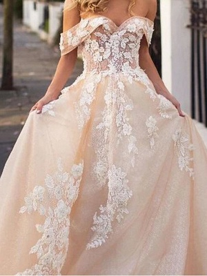A-Line Wedding Dresses Jewel Neck Court Train Lace Tulle Short Sleeve Formal Wedding Dress in Color_3