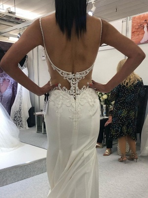 Mermaid \ Trumpet Spaghetti Strap Court Train Polyester Sleeveless Country Plus Size Wedding Dresses_2