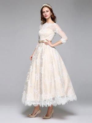 A-Line Wedding Dresses Bateau Neck Ankle Length Lace Over Satin 3\4 Length Sleeve Casual Boho See-Through Cute Illusion Sleeve_6