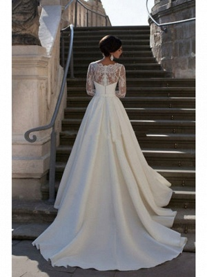 A-Line Wedding Dresses Strapless Court Train Lace Satin Long Sleeve Formal_2