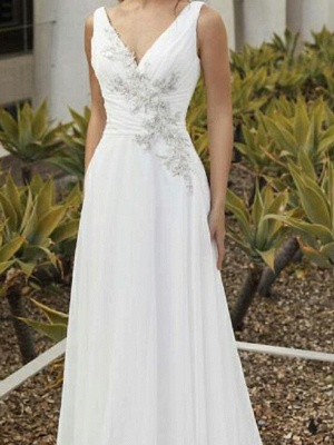A-Line Wedding Dresses V Neck Sweep \ Brush Train Chiffon Sleeveless Romantic_3