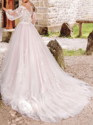 A-Line Wedding Dresses Jewel Neck Floor Length Lace Tulle Long Sleeve Formal See-Through_2