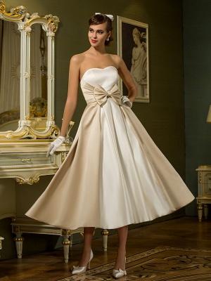 A-Line Wedding Dresses Sweetheart Neckline Tea Length Satin Strapless Casual Vintage Little White Dress Plus Size_1