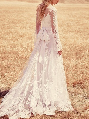 A-Line Jewel Neck Sweep \ Brush Train Lace Long Sleeve Beach Illusion Sleeve Wedding Dresses_4