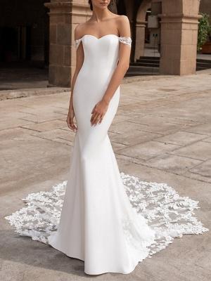 Mermaid \ Trumpet Wedding Dresses Off Shoulder Court Train Lace Satin Short Sleeve Romantic Plus Size_1