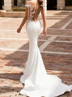 Mermaid \ Trumpet Jewel Neck Court Train Lace Satin Cap Sleeve Sexy See-Through Wedding Dresses_2