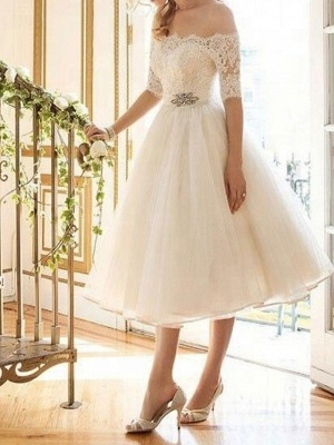 A-Line Wedding Dresses Off Shoulder Tea Length Lace Tulle Half Sleeve Vintage Sexy Wedding Dress in Color Backless_2