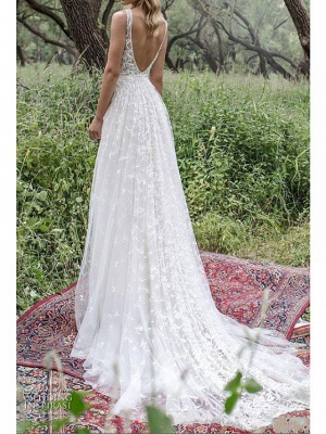 A-Line Wedding Dresses V Neck Sweep \ Brush Train Lace Tulle Sleeveless Country Plus Size_1