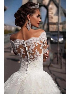 Ball Gown A-Line Wedding Dresses Off Shoulder Court Train Lace Tulle Lace Over Satin Short Sleeve Country Illusion Detail Backless_3