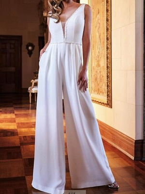 Two Piece Jumpsuits Wedding Dresses V Neck Sweep \ Brush Train Polyester Sleeveless Country Plus Size_2