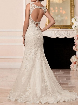 Mermaid \ Trumpet Wedding Dresses Sweetheart Neckline Sweep \ Brush Train Lace Spaghetti Strap Sexy Illusion Detail Backless_3