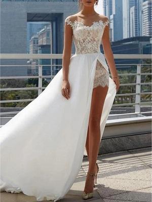 A-Line Wedding Dresses Off Shoulder Sweep \ Brush Train Lace Satin Cap Sleeve Formal Boho Plus Size_2