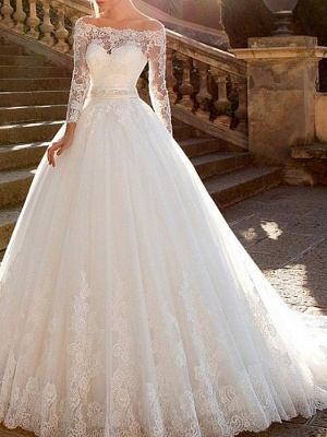 Ball Gown A-Line Wedding Dresses Off Shoulder Court Train Lace Tulle Long Sleeve Formal See-Through_3
