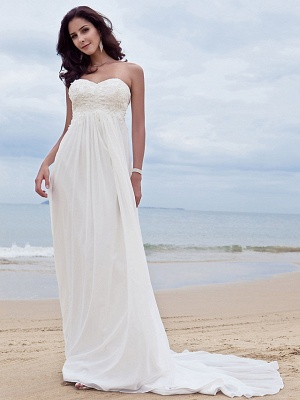 A-Line Wedding Dresses Sweetheart Neckline Court Train Chiffon Strapless Simple Beach Plus Size_6