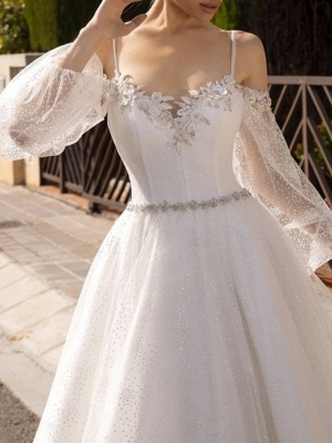 A-Line Wedding Dresses Spaghetti Strap Sweep \ Brush Train Lace Tulle Sequined Long Sleeve Formal Backless_3