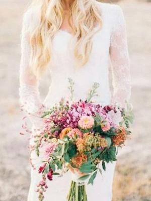 Sheath \ Column Wedding Dresses Scoop Neck Sweep \ Brush Train Lace Long Sleeve Illusion Sleeve_2