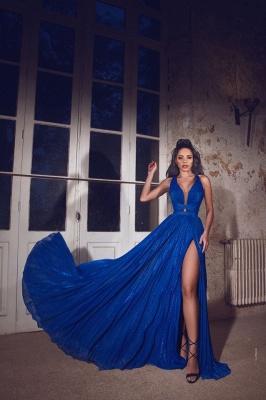ZY088 Simple Evening Dresses Long Blue   Evening Wear V Neckline_1