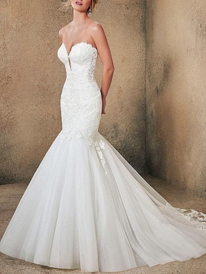 Mermaid \ Trumpet Strapless Sweep \ Brush Train Lace Tulle Sleeveless Formal Sexy Backless Wedding Dresses_1