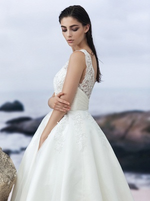 A-Line Wedding Dresses Bateau Neck Knee Length Organza Regular Straps Formal Casual Little White Dress Illusion Detail Backless_3