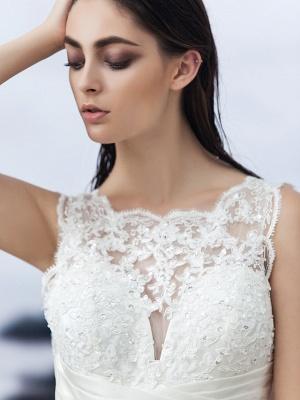 A-Line Wedding Dresses Bateau Neck Knee Length Organza Regular Straps Formal Casual Little White Dress Illusion Detail Backless_5