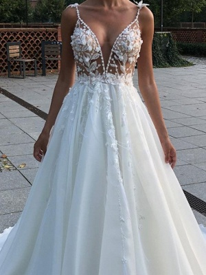 A-Line Wedding Dresses V Neck Spaghetti Strap Sweep \ Brush Train Lace Sleeveless Country Plus Size_2