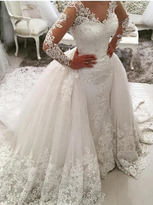 Ball Gown Mermaid \ Trumpet V Neck Sweep \ Brush Train Lace Tulle Lace Over Satin Long Sleeve Glamorous See-Through Illusion Sleeve Wedding Dresses_1