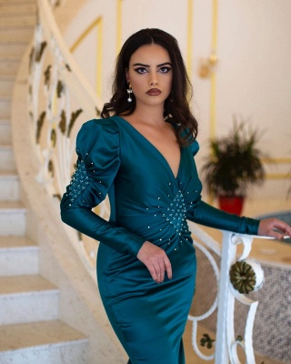 ZY092 Green Evening Dresses With Sleeves | Prom Dresses Long Cheap_2