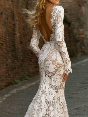 Mermaid \ Trumpet Jewel Neck Sweep \ Brush Train Polyester Long Sleeve Country See-Through Plus Size Illusion Sleeve Wedding Dresses_2