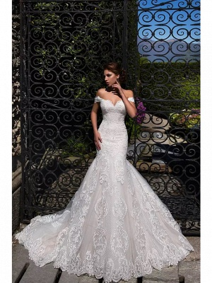 Mermaid \ Trumpet Off Shoulder Court Train Lace Tulle Short Sleeve Sexy Backless Wedding Dresses_2