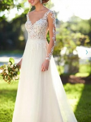 A-Line Wedding Dresses V Neck Sweep \ Brush Train Lace Tulle Long Sleeve Romantic See-Through Backless_3