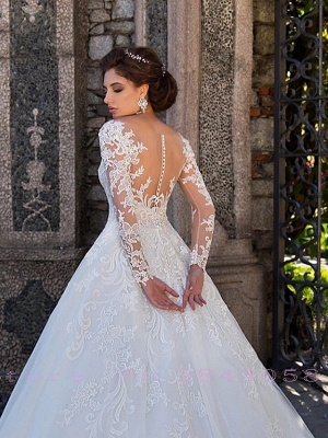 Ball Gown Jewel Neck Court Train Lace Tulle Long Sleeve Plus Size Illusion Sleeve Wedding Dresses_4