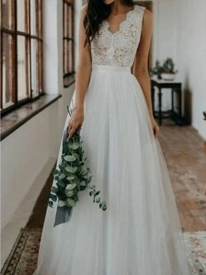 A-Line Wedding Dresses V Neck Sweep \ Brush Train Lace Tulle Sleeveless Beach Boho Sexy_3