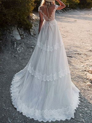 A-Line Wedding Dresses V Neck Sweep \ Brush Train Tulle Cap Sleeve Illusion Detail Backless_2