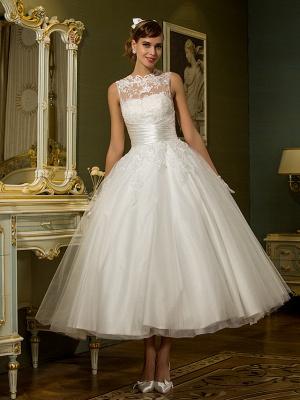 A-Line Wedding Dresses High Neck Ankle Length Lace Over Tulle Regular Straps Vintage Little White Dress Illusion Detail_2
