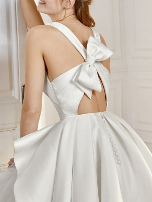 A-Line Wedding Dresses V Neck Sweep \ Brush Train Satin Tulle Sleeveless Vintage Sexy Wedding Dress in Color Backless_3
