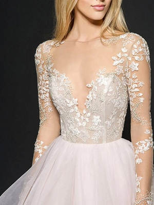 Ball Gown Wedding Dresses V Neck Floor Length Organza Long Sleeve Illusion Sleeve_3