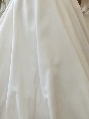 A-Line Wedding Dresses V Neck Sweep \ Brush Train Polyester Short Sleeve Country Plus Size_3