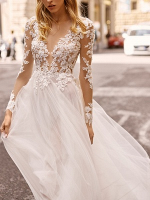 A-Line Wedding Dresses V Neck Floor Length Lace Tulle Long Sleeve Beach Boho Sexy See-Through_3