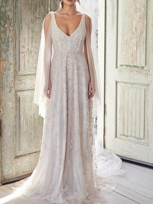 A-Line Wedding Dresses V Neck Chapel Train Lace Sleeveless Sexy Wedding Dress in Color_2