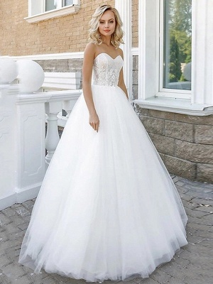 A-Line Wedding Dresses Strapless Floor Length Lace Tulle Strapless Sexy Plus Size_3